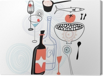 Drinks and food Canvas Print