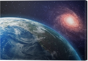 Earth and a spiral galaxy in the background Canvas Print