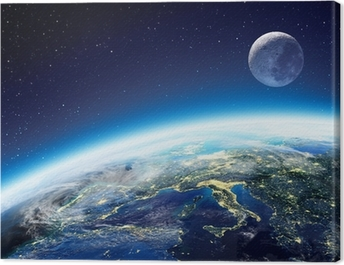 Earth and moon view from space at night - Europe Canvas Print