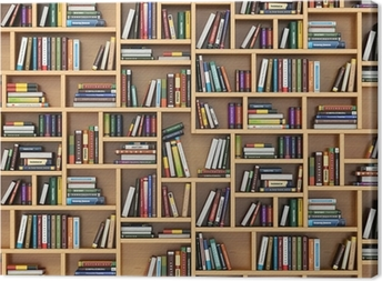 Education concept. Books and textbooks on the bookshelf. Canvas Print