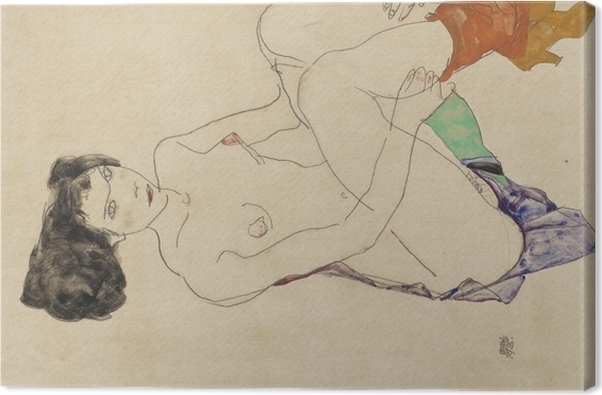 Egon Schiele - Lying Nude Canvas Print - Reproductions