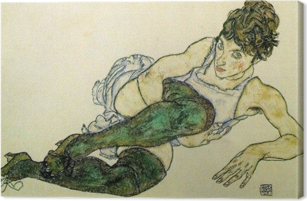 Egon Schiele - Reclining Woman with Green Stockings Canvas Print - Reproductions