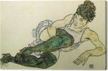 Egon Schiele - Reclining Woman with Green Stockings Canvas Print