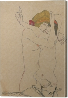 Egon Schiele - Two Women Embracing Canvas Print
