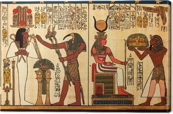 Egyptian papyrus with antique hieroglyphs Canvas Print