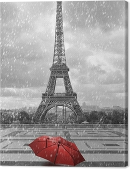 Eiffel tower in the rain. Black and white photo with red element Canvas Print