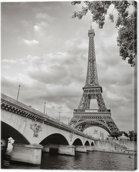 Eiffel tower view from Seine river square format Canvas Print
