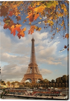 Eiffel Tower with autumn leaves in Paris, France Canvas Print