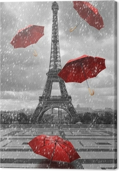 Eiffel tower with flying umbrellas. Canvas Print