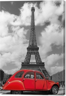 Eiffel Tower with red old car in Paris, France Canvas Print