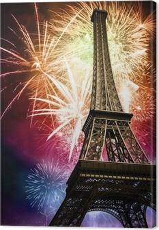 eiffel with fireworks Canvas Print