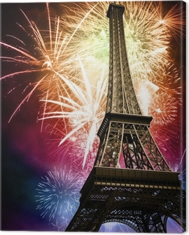 eiffel with fireworks Canvas Print