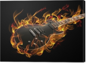 Electric guitar in fire and flames Canvas Print