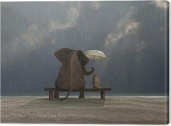 elephant and dog sit under the rain Canvas Print