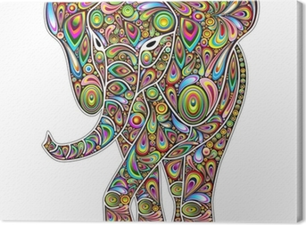Elephant Psychedelic Pop Art Design on White Canvas Print