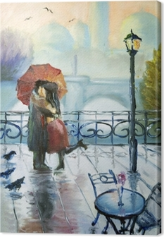 enamoured couple in the rain Canvas Print