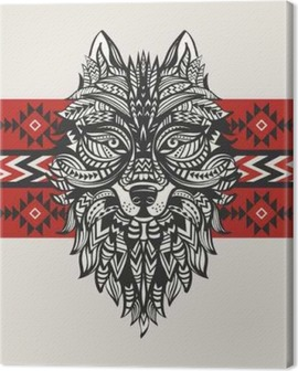 Ethnic totem of a wolf. Indian wolf. A tattoo of a wolf with an ornament. Hand Drawn vector illustration Canvas Print