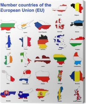 EU countries flag maps Canvas Print
