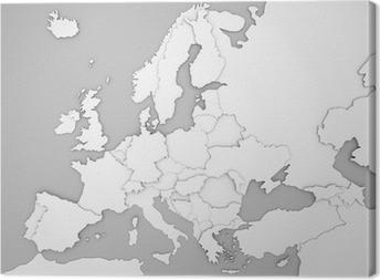 Europakarte Mit 3d Landergrenzen In Grau Weiss Canvas Print
