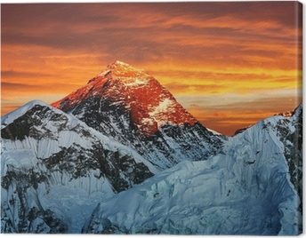 Evening colored view of Everest from Kala Patthar Canvas Print