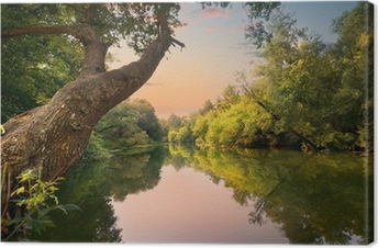Evening on the river Canvas Print