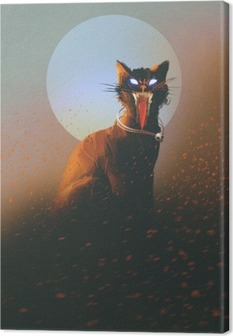 evil cat on a background of the moon,undead,horror concept,illustration Canvas Print