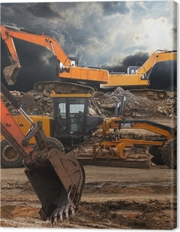 Excavator and grader Canvas Print