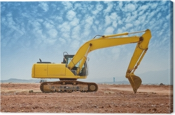 excavator loader machine during earthmoving works outdoors Canvas Print