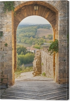 Exit the town of Monteriggioni with views of the Tuscan landscap Canvas Print