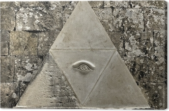Eye of Providence symbol etched in limestone Canvas Print