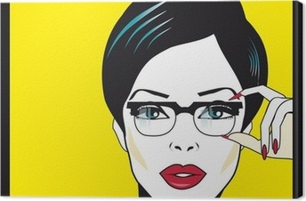 Eyewear glasses woman closeup portrait. Woman wearing glasses ho Canvas Print