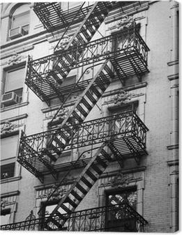 Façade avec escalier de secours noir et blanc - New-York Canvas Print