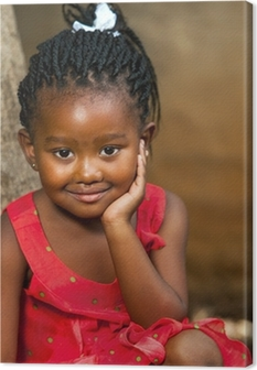 Face shot of cute african girl. Canvas Print