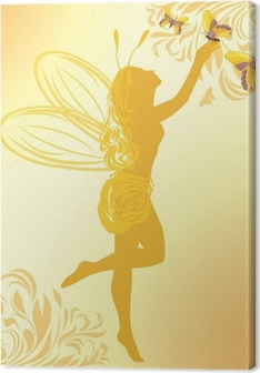 Fairy and butterflies on a yellow background Canvas Print