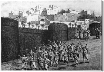 Falling the walls of Jericho - Biblical scene Canvas Print