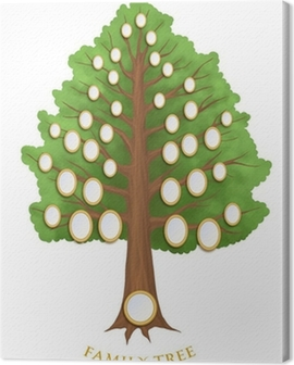 family tree with empty oval frames Canvas Print