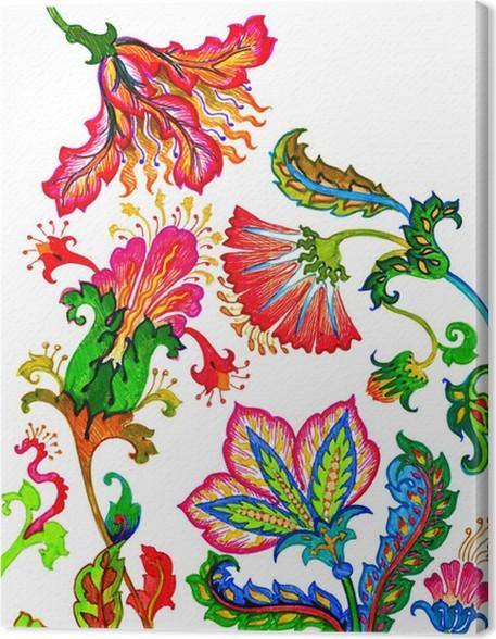 fancy flowers, felt-tip pen Canvas Print