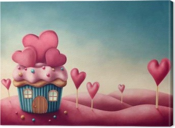 Fantasy cup cake house Canvas Print