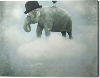 Fantasy elephant flying Canvas Print