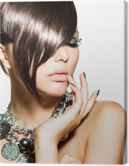 Fashion Glamour Beauty Girl With Stylish Hairstyle and Makeup Canvas Print