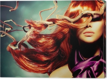 Fashion Model Woman Portrait with Long Curly Red Hair Canvas Print