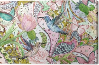 fashion seamless texture with ethnic floral ornament and hummingbirds. watercolor painting Canvas Print