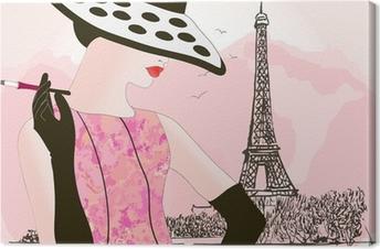 fashion woman in Paris Canvas Print