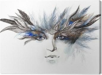 feathers around eyes (series C) Canvas Print