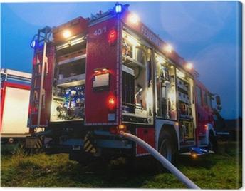 Feuerwehr im Einsatz mit Blaulicht Canvas Print