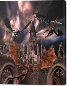 Fighting dragons Canvas Print