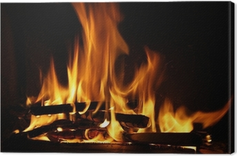 Fire in a fireplace, fire flames on a black background Canvas Print