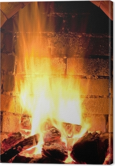 fire in fireplace Canvas Print