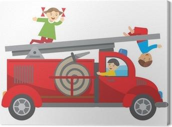 Fire truck and children Canvas Print