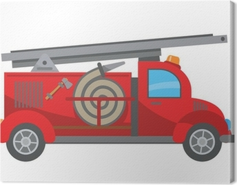 Fire truck cartoon Canvas Print